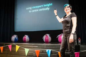 Diane Wallace giving her presentation at WordCamp Brighton 2016