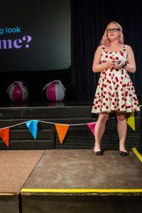 Sarah Semark delivering her presentation at WordCamp Brighton 2016.